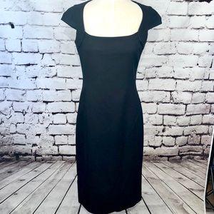Zara Basic Black Cap Sleeve Midi Pencil Dress LBD